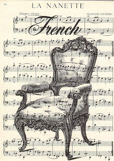 Art that is french but not the eifel tower -  Vintage Digital Stamp - French Chair Collage