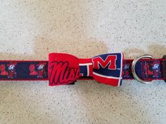 A personal favorite from my Etsy shop https://www.etsy.com/listing/540079929/ole-miss-rebel-dog-collar-bow-tie