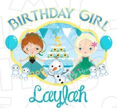 Frozen Fever Birthday Girl ANY NAME AND NUMBER PERSONALIZED digital clip art DIY for shirt :: My Heart Has Ears