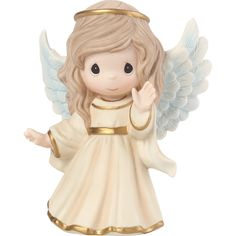 This Nativity Angel Figurine from Precious Moments offers an adorable way to enhance your Christmas decor for the holidays. Porcelain angel waves in a welcoming greeting and has a gold halo on her head and gold accents on her billowing ivory gown. Thoughtful Christmas Gifts, Thoughtful Gifts, Indoor Christmas Decorations, Holiday Decor, Precious Moments Figurines, Arte Disney, Sculpting, Christmas Holidays, Christmas Tree