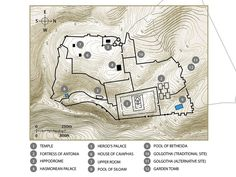 Free Visuals:  Maps: Jerusalem in the time of Jesus  Maps showing topography of Jerusalem and key sites in the time of Jesus. Key buildings in Jerusalem that feature in the Biblical accounts of the life of Jesus.