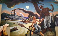 Detail of steamboat Sam Clemens with Huck Finn & Jim on raft on Social History of Missouri mural (1935) by Thomas Hart Benton at Missouri State Capitol. Jefferson City, MO.
