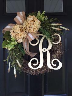 Shabby Chic Wreath  Monogram Wreath  Cream Country by jennyCmoon