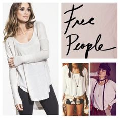 "Free People Drippy Ventura Thermal Top.  NWT. Free People Oatmeal Drippy Ventura Thermal Top, 95% rayon, 5% spandex, washable, 26"" armpit to armpit (52"" all around), 20"" arm inseam, 30"" front length, 35"" back length, so soft drippy thermal in any my textured stretch fabric, swing silhouette with subtle high low hem and side vents, raw seams, wide ribbed cuffs, long sleeves, measurements are approx.  No Trades... Free People Tops"
