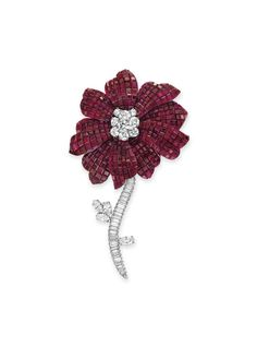 "A ""mystery-set"" ruby and diamond flower brooch, by Van Cleef & Arpels #christiesjewels"