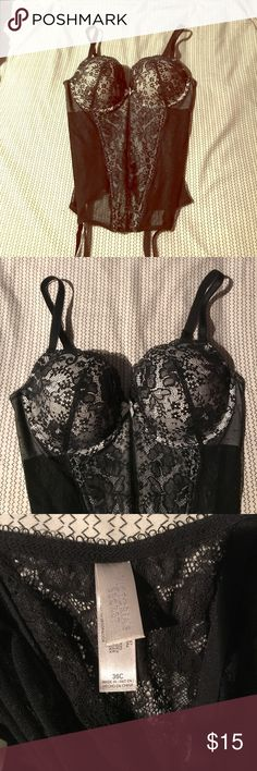 Victoria's Secret black lace lingerie Ever worn, perfect condition. Ribbed lace lingerie with built in underwire bra and stocking closures. Zip closure in the side Victoria's Secret Intimates & Sleepwear Bras
