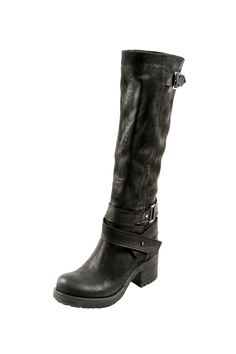 Below-the-knee soft leather boot with a taupe leather ankle strap