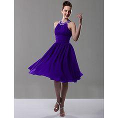 Knee-length Chiffon Bridesmaid Dress - Regency Plus Sizes / Petite A-line / Princess Jewel – USD $ 69.99