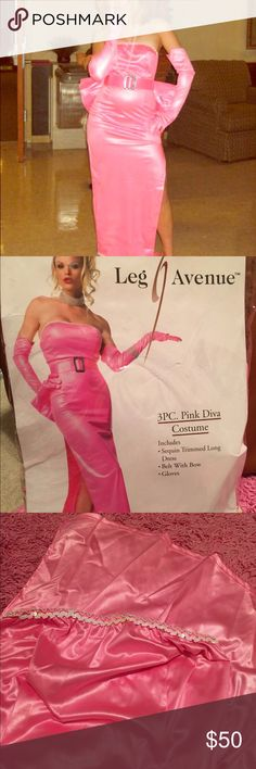 Marilyn Monroe OR Madonna Material Girl costume! Worn once for Halloween! Some minor dirt spots on gloves and train part of dress! Still amazing and can easily be a perfect Halloween costume! Costume contest worthy for sure! Includes dress, belt, detachable bow, and gloves. Leg Avenue Other
