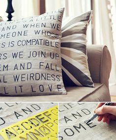 Spice up your living room with a hip & trendy stencil pillow! All you need is a fabric marker and a letter stencil (available at just about any craft, hobby, or office supply store). Stenciled Pillows, Diy Pillows, Pillow Ideas, Cushions, Diy Arts And Crafts, Diy Crafts, Fabric Markers, Fabric Pen, Letter Stencils