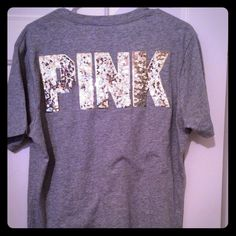 BNWT VS Victoria's Secret campus bling tee shirt S Brand new hard to find sold out online campus size small oversized fit gray with gold sequins and gold logo on front pocket.open to trades for other cases pink items :) PINK Victoria's Secret Tops Tees - Short Sleeve