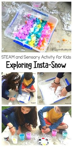 Use Insta-Snow to explore absorption evaporation and polymers in this winter science activity for kids. Also a great winter-themed sensory play experience for children of all ages and a fun way to explore color mixing too! Preschool Science Activities, Steam Activities, Winter Activities, Science For Kids, Educational Activities, Preschool Kindergarten, Preschool Activities, Preschool Winter, Science Ideas