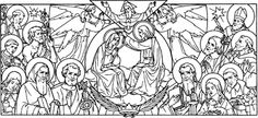 Interesting Catholic line and ink drawing of Mary Queen of All Saints.