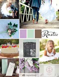 A botanical color palette featuring wedding stationery, decor, and other ideas for your rustic wedding theme.