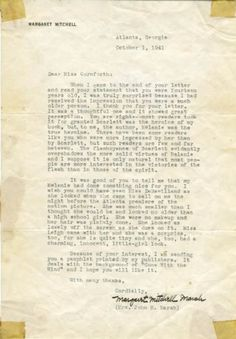 Margaret Mitchell's letter to a fan, dated October 1941-Confirming Melanie as the true heroine.
