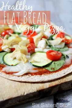 Healthy Flat Bread Veggie Pizza on MyRecipeMagic.com