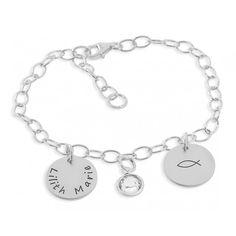 Ein wunderschönes Armband komplett aus 925 Sterling Silber. Die Plättchenanhänger sind ca. 1,3 cm groß und können mit Ihrem Wunschtext graviert werden.