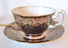 Vintage Teacup Black and Gold Chintz Adderley English Bone China Tea cup and Saucer Set - England