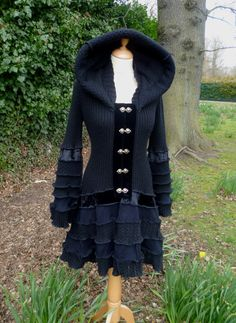Raven - Custom Gypsy Vampire coat from recycled sweaters - RESERVED for Vicky, please do not purchase bewaard door Atelier Jose Diy Fashion, Fashion Outfits, Street Fashion, Recycled Sweaters, Altered Couture, Recycled Fashion, Diy Clothing, Sweater Coats, Refashion