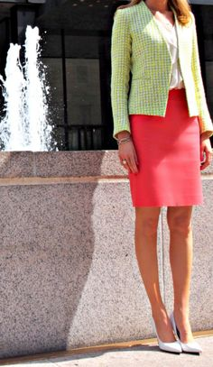 The Classy Cubicle: Lime Time. The fashion blog for chic young professional women who need office style inspiration and work wear ideas for the corporate world. Theory Jacket, J. Crew Pencil Skirt, Nine West Pumps, Ann Taylor, Silver Jewelry, Monogram, Fountain, New York City, Park Avenue