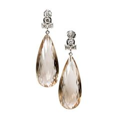 Pre-owned 14K White Gold Briolette Smoky Quartz & Diamond Dangle... ($2,620) ❤ liked on Polyvore featuring jewelry, earrings, dangle earrings, white gold jewellery, long diamond earrings, diamond dangle earrings and 14k earrings
