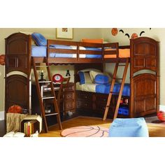 I don't need something like this, but I wanted to pin it because I think it is such an awesome idea Triple bed loft bed with desk! Perfect for boys room.