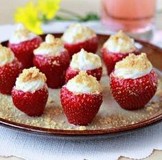 Cheesecake Stuffed Strawberries! Perfect!