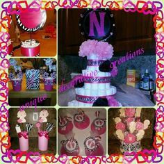 Zebra girl baby shower diaper cake, tags, candy stand, & centerpieces. If any questions please call 7869165336 or on Facebook at unique decorative creations thank u.