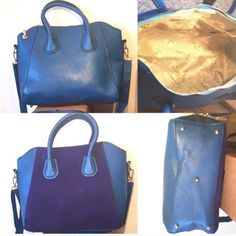 """Large Blue Vegan Leather Tote Handbag This large blue tote handbag features patchwork design, zipper closure, interior cell phone pocket, and two strap styles (handles to carry like a tote and a long strap to carry cross body or on shoulder). Made of PU leather. Bag measures 15"""" x 11"""" x 5"""". Bags Totes"""