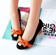 New Design Bowtie Decorated Big Size Block Shoes on DressLuck.com