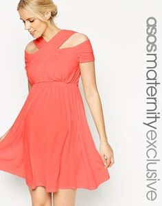 ASOS Maternity Skater Dress With Cross Over Cut Out Neck