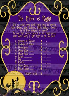 Nightmare before Christmas PRICE IS RIGHT by EZPartyPrintables