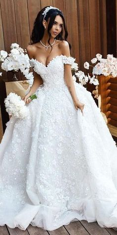 24 Awesome Off The Shoulder Wedding Dresses Inspiration ❤️ off the shoulder wedding dresses ball gown sweetheart florap appliques dmitriy plyusnin ❤️ Full gallery: https://weddingdressesguide.com/off-the-shoulder-wedding-dresses/ #bride #wedding #bridalgown