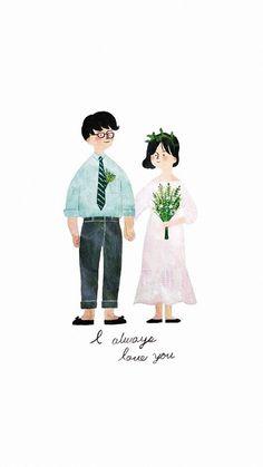 Wedding Illustration, Couple Illustration, Wedding Couples, Cute Couples, Beautiful Easy Drawings, Wedding Couple Cartoon, Illustrated Wedding Invitations, Korean Wedding Photography, Wedding Painting