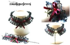 Ruffled Choker and Bracelet Set Gothic Collar and by rsuniquejewel
