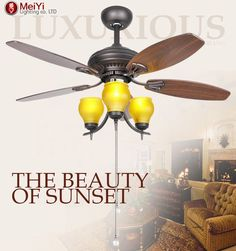 2015 Village Glass Ceiling Fans Lights ventilador de teto com lustre Fan Ceiling For Home Lamp Free Shipping