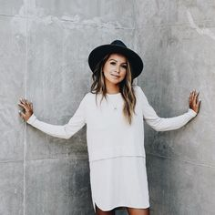 i love everything about this | hat, shift dress, long hair, waves, fashion inspiration, casual, everyday, day to night, date outfit, minimalist, minimalism, minimal, simplistic, simple, modern, contemporary, classic, classy, chic, girly, fun, clean aesthetic, bright, white, pursue pretty, style, neutral color palette, inspiration, inspirational, diy ideas, fresh, street style, on point, trendy, on trend, glam, tousled, boho, stylish, 2017, sophisticated