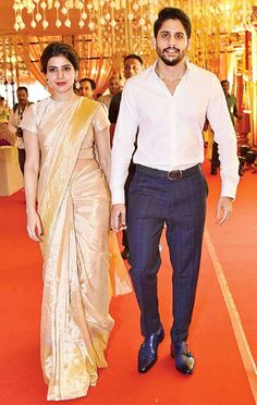 Naga Chaitanya shared details about the weddings in the Akkineni Family during the promotions of 'Saahasam Swasaga Saagipo' Indian Groom Wear, Indian Wear, Indian Outfits, Indian Dresses, Indian Saris, Golden Saree, Kerala Saree, Babe, White Saree