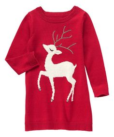 Another great find on #zulily! Red Deer Sweater Dress - Girls by Gymboree #zulilyfinds