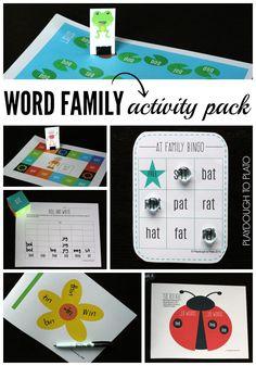 Uber Fun Word Family Activity Pack. {Playdough to Plato}