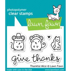 """LF936  Lawn Fawn Clear Photopolymer Stamps """"Thankful Mice"""""""