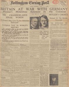 Newspapers ©: [Britain declared war on Nazi Germany on 3 September You can read the newspaper headlines from that day at The British Newspaper Archive. World History, World War Ii, Art History, British History, American History, Vintage Newspaper, Newspaper Headlines, Journal, History Facts