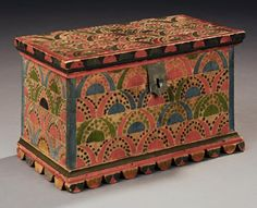 Exceptional newly discovered paint decorated trinket box, Sommerset County, Penn, c 1830. Sold by David A. Schorsch and Eileen Smiles to a private collector.