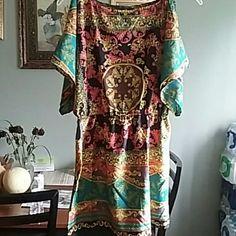 Very pretty Elegant party dress Multicolored vibrant verace look alike dress!!Very stunning on! Angie Dresses Midi