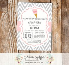 Chevron and Light Pink Chevron Ice Cream Cone Dessert Birthday Party Baby Shower Modern Invitation - choose your colors by NotableAffairs