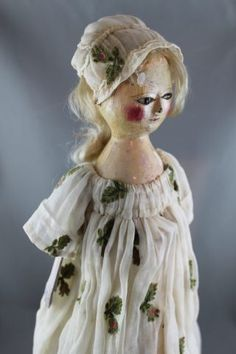 131: English Carved Wooden Queen Anne Doll : Lot 131