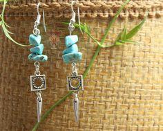 Boucles d'oreilles Ethnique Maya en pierre de Turquoise : Boucles d'oreille par les-fetiches-de-vanoukan