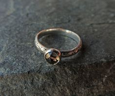 Elegant Edwardian Inspired, Rose Cut Smoky Quartz and Sterling Silver Ring In Your Size - Timeless Druid Stone Ring