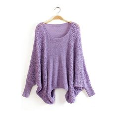 Purple Round Neck Batwing Sleeve Pullover Sweaters ($27) ❤ liked on Polyvore featuring tops, sweaters, outerwear, purple, bat sleeve sweater, sweater pullover, long sleeve pullover, purple sweater and long sleeve batwing top