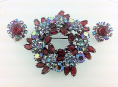 50% OFF SALE, Amazing Red and Aurora Borealis Rhinestone Brooch and Earring Set. jewelry. on Etsy, $40.00
